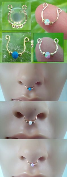 Other Wholesale Body Jewelry 51011: Lot 40 Fake Septum Rings, 14K Gold Filled 3Mm White Blue And Pink Opal BUY IT NOW ONLY: $135.0