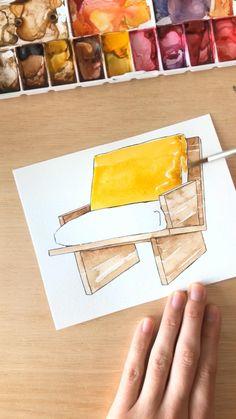 Interior Architecture Drawing, Interior Design Renderings, Architecture Concept Drawings, Watercolor Architecture, Interior Sketch, Diy Wall Art, Diy Wall Decor, Bedroom Drawing, Engraving Art