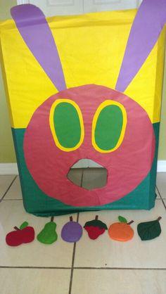 Feed the caterpillar bean bag toss game- the very hungry caterpillar theme, i made the bean bags with felt