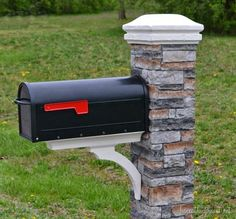 "Love this mailbox makeover -- the ""stone"" just slides over the mailbox post."
