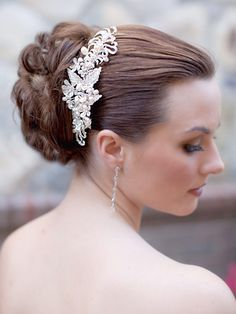 DS-R66755  Large and Dramatic Vintage Inspired Rhinestone and Pearl Bridal Hair Comb