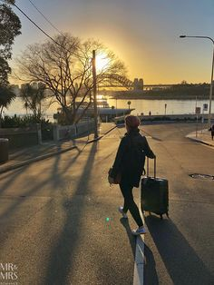 Walking into the sunrise - and towards the Sydney Harbour Bridge!