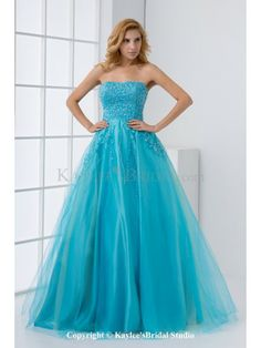 Tulle and Satin Strapless A-line Floor Length Sequins and Sequins Prom Dress