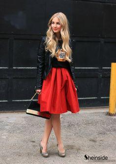 Red Flare Pleated Midi Skirt - Sheinside.com