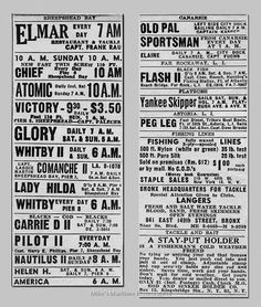 NEW YORK DAILY MIRROR Party Boat Ads – 1948 Lobster Fishing, Far Rockaway, New York, Boat, Ads, Party, Mirror, New York City, Dinghy