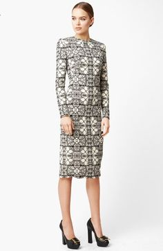 Alexander McQueen Stained Glass Print Wool Crepe Dress