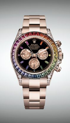 Rolex Watches New Collection : Illustration Description The new Rolex Cosmograph Daytona in Everose gold version features a bezel set with a gradation of sapphires in rainbow hues. Amazing Watches, Cool Watches, Rolex Watches, Wrist Watches, Dream Watches, Rolex Cosmograph Daytona, Rolex Daytona, New Rolex, Swiss Army Watches