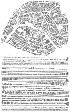 Analysis of urban form by block shape and size as inspiration for the artwork by Armelle Caron (french artist)