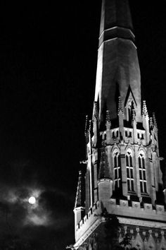 Full moon next to St Patrick's Cathedral Melbourne by Beth Ierino