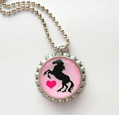 Pink Horse Bottle Cap Necklace - horse necklace, cowgirl necklace, cowgirl jewelry, cowgirl birthday party favors, cowgirl birthday favors