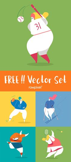 40 Best ideas for sport poster vector galleries Pixel Characters, Iconic Characters, Creative Banners, Creative Design, Free Vector Illustration, Illustrations, Photos For Facebook, Sports Graphics, Image Fun