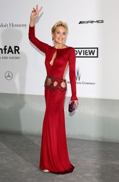 Diva in red, Sharon Stone in a #RobertoCavalli gown #Cannes2014 ...