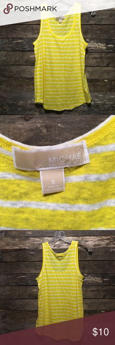 Michael Kors Yellow Striped Linen Ladies' Tank Top All items are in gently worn condition with no stains, tears, or other noted flaws unless otherwise stated. From a smoke-free home. Please don't hesitate to make an offer. Bundle for private offers. Quick shipping is a priority. MICHAEL Michael Kors Tops Tank Tops
