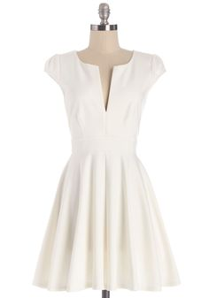 All I Do is Winsome Dress.  This white A-line dress is gorgeeeey! #white #modcloth