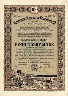 Kamerun-Eisenbahn-Gesellschaft Anteil B 100 Mark März 1907 (R 9).