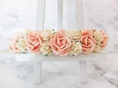 Peach and ivory yellow flower crown - floral hair wreath - flower headpiece - flower hair accessories - hair garland