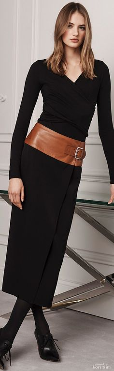 Ralph Lauren Pre-Fall 2016 black dress women fashion outfit clothing style apparel RORESS closet ideas Clothing, Shoes & Jewelry - Women - women's belts - http://amzn.to/2kwF6LI