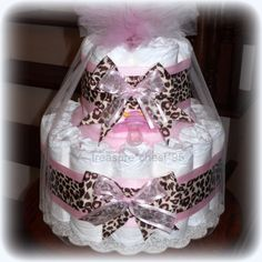 Animal Print Diaper Cake Baby Girl Baby by simplydiapercakes, $45.00