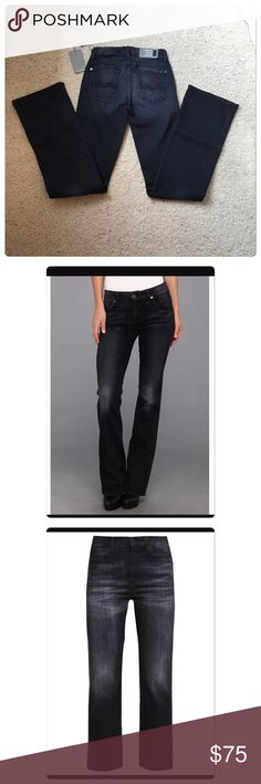 """NWT, 7 for all mankind, Kimmie Bootcut Black Jeans NWT, 7 for all mankind, """"Kimmie"""" Bootcut Black Jeans! Ultimate bootcut with contour waist. Universally flattering fit! Factory distressed and whiskering throughout. 70% cotton, 6% polyester & 4% spandex. Brand new with tags! Approx Measurements while laying flat inseam 33"""", front rise approx 8"""", top of waist across front 12.5"""". Size 24. 🚫No Trades 7 For All Mankind Jeans Boot Cut"""