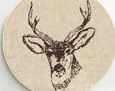 Modern Cross stitch pattern deer head to the by LeRayonDeSoleil