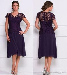 2015 Tea Length Mother of Bride Dresses Sheer Lace V Neck Short Sleeves A Line Chiffon Elegant Formal Evening Gowns from Beautiful_bridal | DHgate.com  deep eggplant?