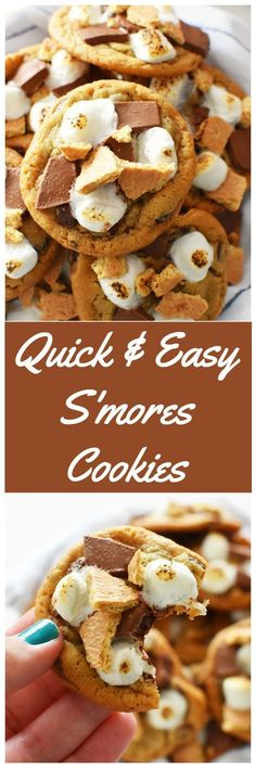 Quick and Easy S'mores Cookies. Enjoy the ooey, gooey tastes of s'mores in every bite. This cookie recipe takes just 15 minutes and is a crowd-pleaser! AD #BTFE