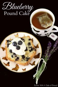 Blueberry Pound Cake~ so easy to make! Butter with A Side of Bread #recipe #cake #blueberries