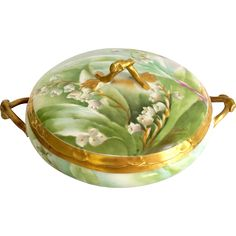 Old Abbey Mavaleix Limoges France Lily of the Valley Covered Dish Signed Barbet