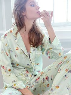 The Afterhours Satin Pajama in Jade Romantic Floral/Victoria's Secret