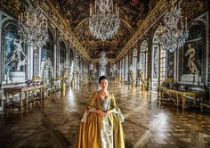 Claire in the Hall of Mirrors waiting for the ball to start #outlander2
