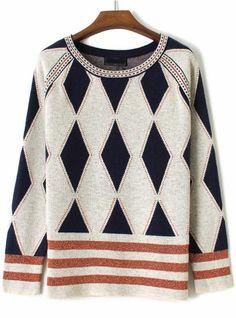 Grey Long Sleeve Diamond Patterned Loose Sweater