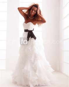 Just as pregnant brides should put on maternity wedding dresses, every bride also ought to pick out their own special and fitted wedding dresses. Here is the Sweetheart Floor-length A-line Wedding Dresses With Cascading Ruffle right for you. Strapless gown with sweetheart pleated asymmetrical bodice,