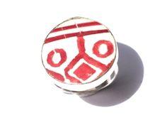 Rare crimson geometric porcelain rings