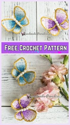 Crochet Embroidery Butterfly Free Crochet Pattern See other ideas and pictures from the category menu…. Crochet Butterfly Free Pattern, Crochet Flower Patterns, Crochet Toys Patterns, Crochet Dolls, Crochet Flowers, Embroidery Patterns, Flower Embroidery, Embroidery Thread, Crochet Decoration