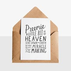 Preemie  Greeting Card  Kraft Envelope - Early Buds has designed these unique hand lettered new arrival / preemie greeting cards, perfect way to congratulate any new parent!