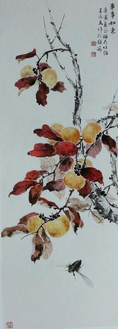 王承天 Japanese Ink Painting, Japanese Watercolor, Japan Painting, Japanese Artwork, Chinese Painting, Floral Watercolor, Oriental Flowers, Asian Paints, Art Asiatique