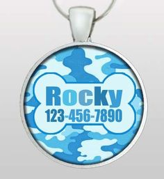 Personalized Dog Tag - Military Inspired Dog ID Tag - Dog's name & your phone number - BLUE Camouflage - Design No. 162