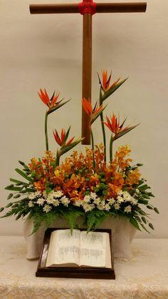 Birds of paradise, orchids, poms Tropical Flower Arrangements, Church Flower Arrangements, Vase Arrangements, Tropical Flowers, Contemporary Flower Arrangements, Flower Arrangement Designs, Altar Flowers, Church Flowers, Hawaiian Flowers