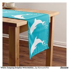 White Jumping Dolphin With Bubbles Table Runner Short Table Runner