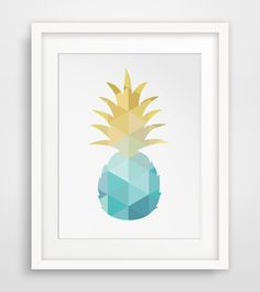 Pineapple, Turquoise, Pineapple Art, Blue and Yellow, Summer Art, Teal and Gold, Pineapple Wall Art, Turquoise and Gold, Blue Art Print