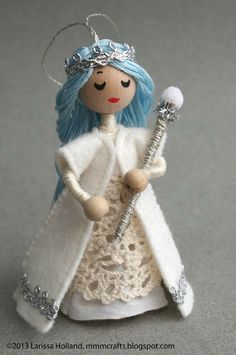 mmmcrafts: I am the Frost Queen. Ornament made from my Wee Princess Pea pattern.