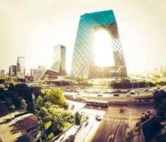 "Here's an arial shot from Beijing's CBD area. This building is really cool, isn't it? The locals call it the ""Metal Underpants"" - Beijing, China - Photo from #treyratcliff Trey Ratcliff at http://www.StuckInCustoms.com"