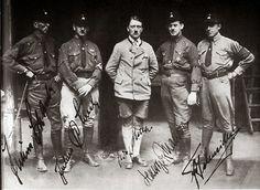 1925 Juliuses Schaub and Schreck, Adolf Hitler, Gerhards Maurer and Schneider again wearing their fledgling SS brownshirt uniforms