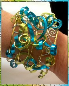 Wide Cuff Bracelet with Turquoise Chartreuse Gold & Silver Swirls - Hand made - Wire Wrapped - One of a Kind Statement piece Mardi Gras Brac