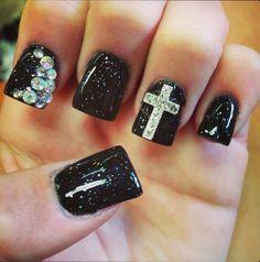 cross nail art designs for 2016 - Styles 7 Nail Designs 2014, Cute Acrylic Nail Designs, Black Nail Designs, Fancy Nails, Cute Nails, Trendy Nails, 3d Nails, Glitter Nails, Sparkly Nails