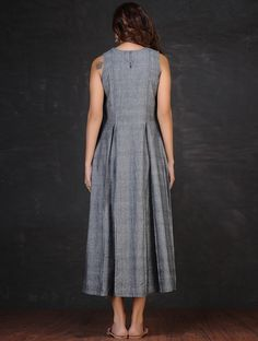 Grey-Red Embroidered Inverted Box Pleated Cotton Dress by Jaypore Linen Dresses, Modest Dresses, Maternity Dresses, Cotton Dresses, Casual Dresses, Fashion Dresses, Western Dresses, Indian Dresses, Box Pleated Dress