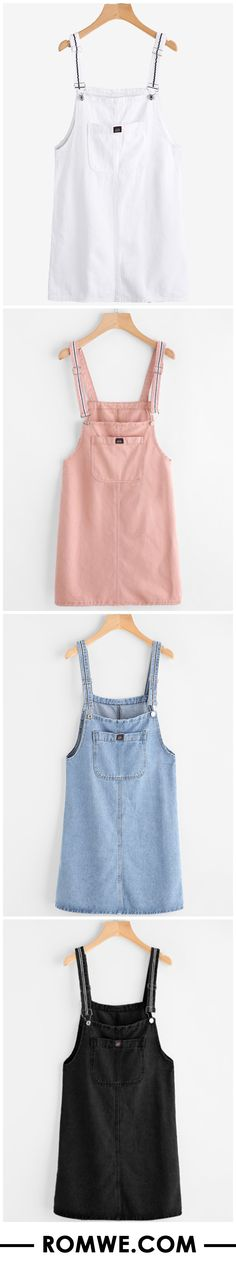 Pinafore Denim Dress With Pockets