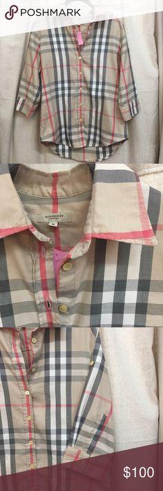 Classic Burberry Plaid Buttondown 3/4 Length Sleeve, cotton button down, excellent condition  HLR 462-127 Burberry Tops Button Down Shirts