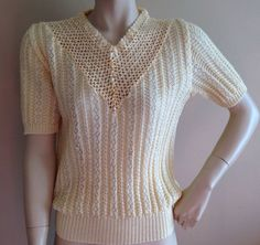 VINTAGE YELLOW 40s 50s STYLE CROCHET KNITTED BLOUSE SWEATER JUMPER ROCKABILLY