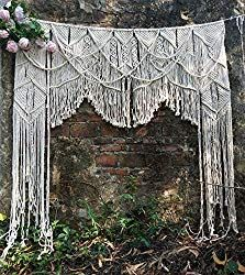 Large Tapestries W X Handmade Macrame Wedding Backdrop, Arch Arbor, Wall Curtain For Door Window, Room Divider Curtain, Window Curtains, Window Privacy, Outdoor Wedding Decorations, Backdrop Decorations, Backdrops, Hanging Room Dividers, Macrame Curtain